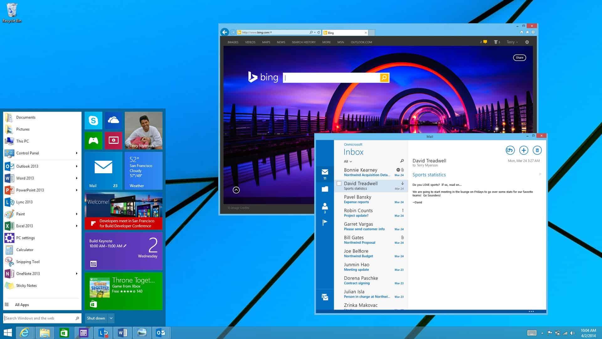 Capture d'écran de Windows 9