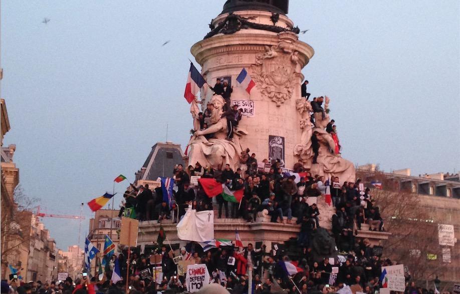 Place de la République à Paris pendant la Marche Républicaine du 11 janvier