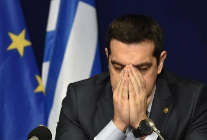 Alexis Tsipras, le Premier ministre grec à Bruxelles lors d'une conférence de presse le12 février 2015