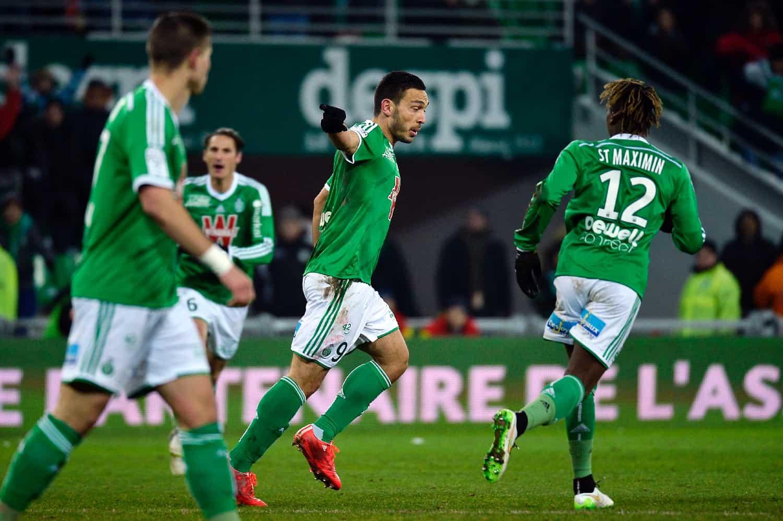 Mevlut Erding, l'attaquant de Saint-Etienne le 6 février 2015 au stade Geoffroy Guichard