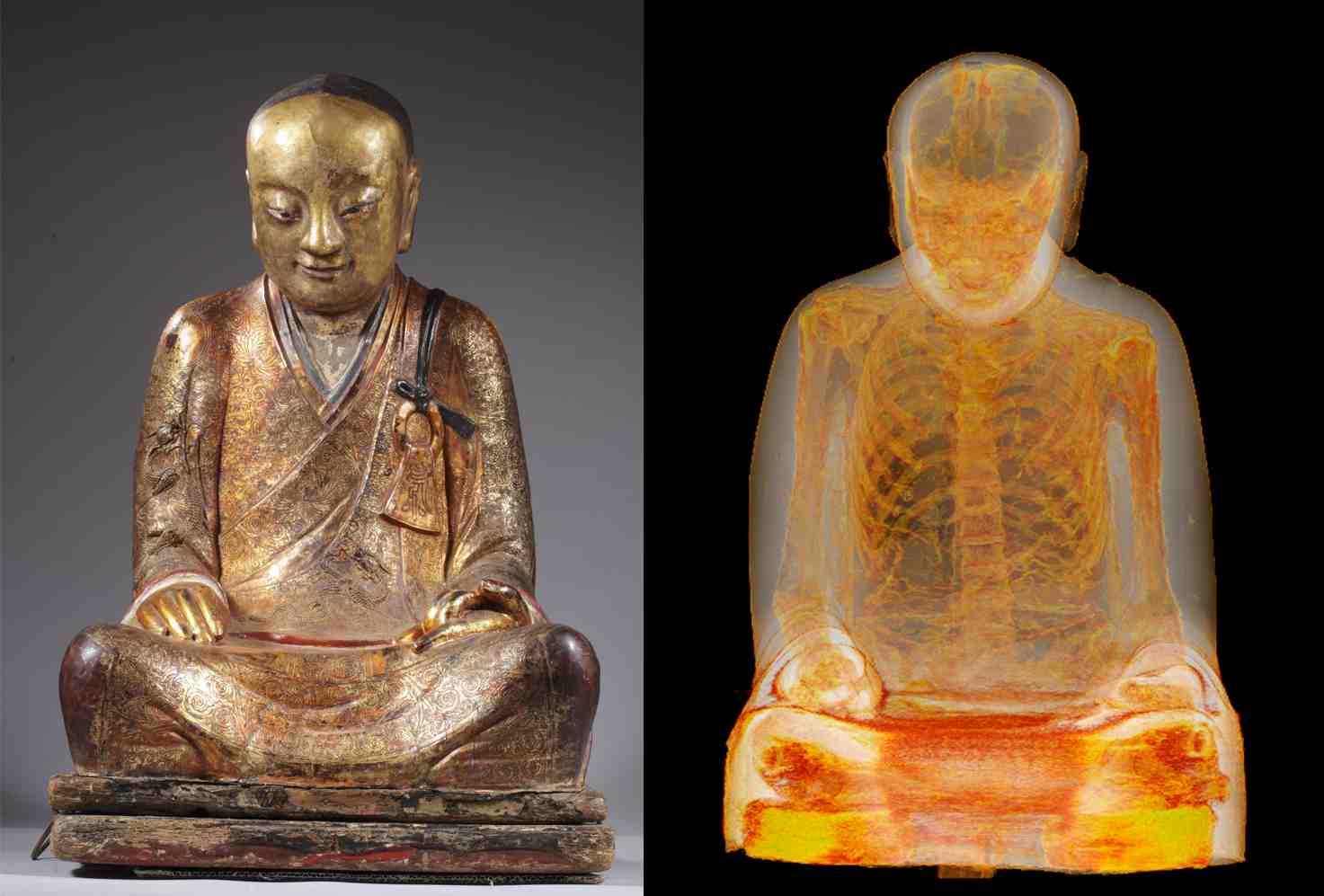 La statue de Bouddha et sa momie.