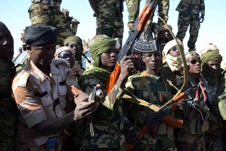Des soldats tchadiens à Gamboru, au cours d'une opération contre Boko Haram