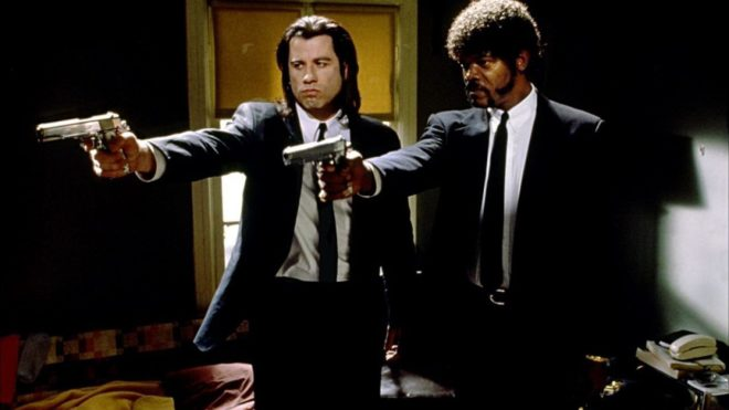 John Travolta et Samuel L. Jackson dans Pulp Fiction.