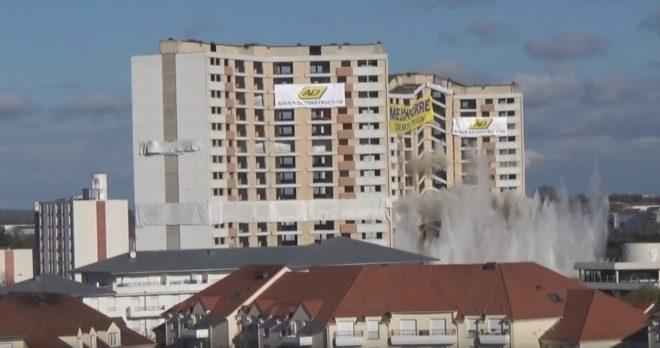 Démolition des tours Auvergne et Artois a Meaux