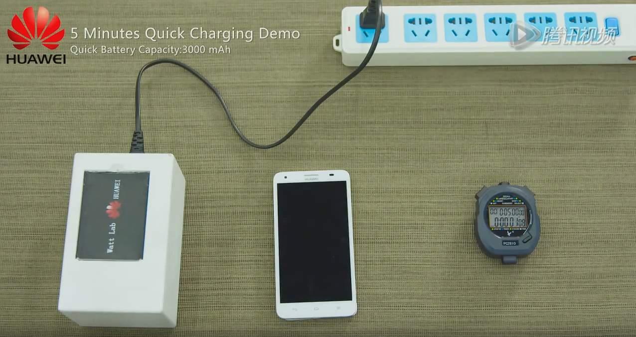 Huawei - démonstration d'une charge rapide de batterie en cinq minutes