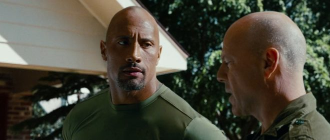 "Dwayne Johnson et Bruce Willis dans ""G.I. Joe : Conspiration"""