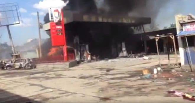 Une station-service de Hinche (Haïti) après l'explosion 'un camion-citerne le 17 mars 2016