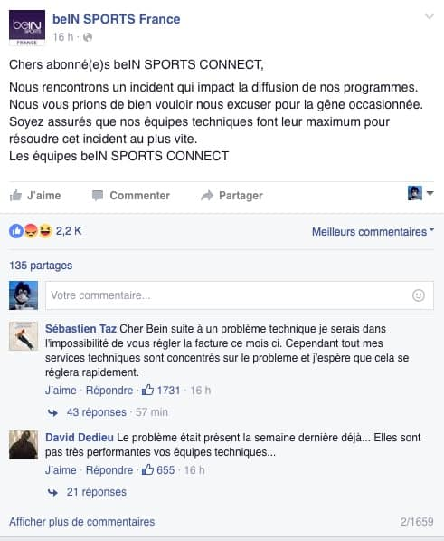 Le message d'excuse de BeIn Sports Connect
