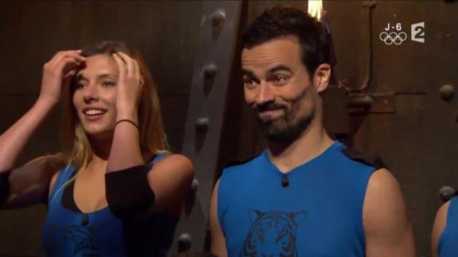 "Camille Cerf et Damien Sargue dans le jeu ""Fort Boyard"" du 30 juillet 2016"