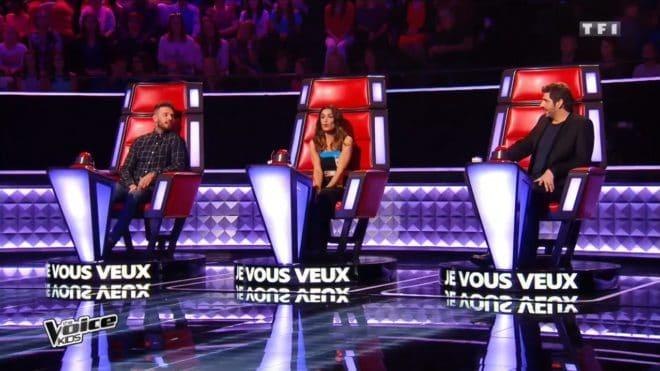 """Les coaches de """"The Voice Kids"""" M. Pokora, Jenifer et Patrick Fiori, émission du 3 septembre 2016"""
