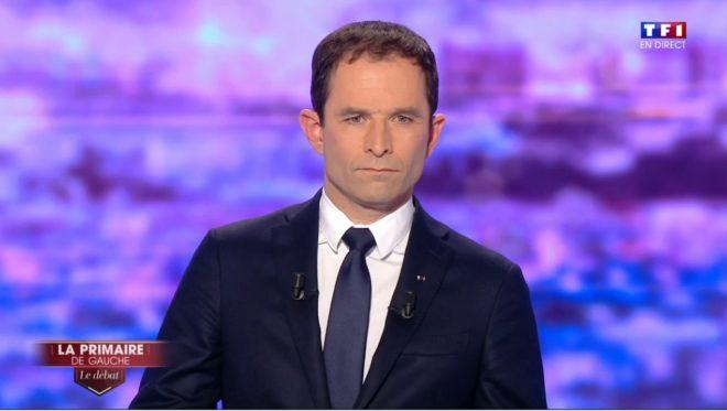 Benoît Hamon lors du premier débat de la primaire de la gauche le jeudi 12 janvier 2017
