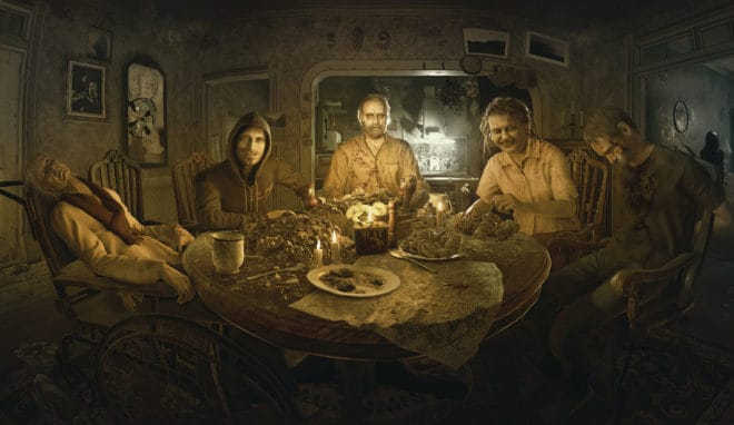 "Illustration conceptuelle de Resident Evil VII, ""Le dîner de famille"""