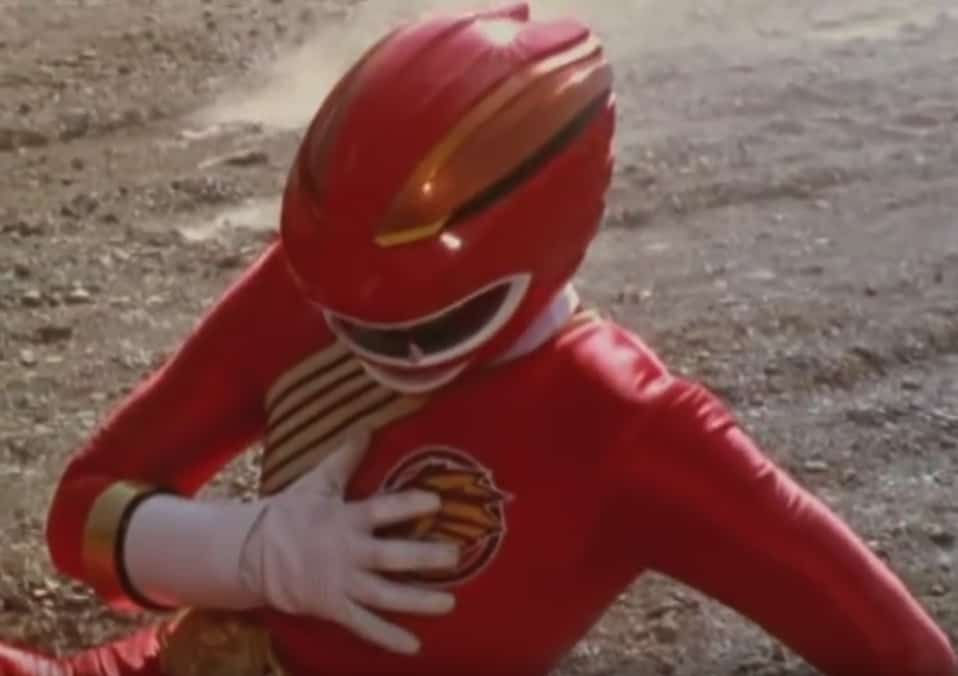 "Le Power Ranger rouge dans la série""Power Rangers : Force animale"""