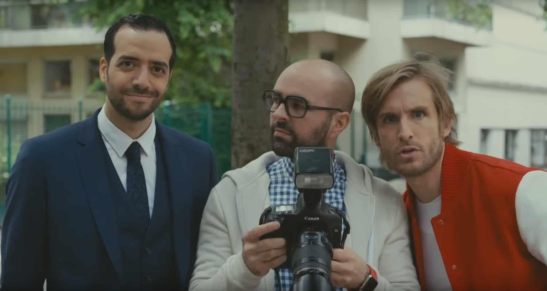 "Tarek Boudali, Julien Arruti et Philippe Lacheau dans ""Alibi"""