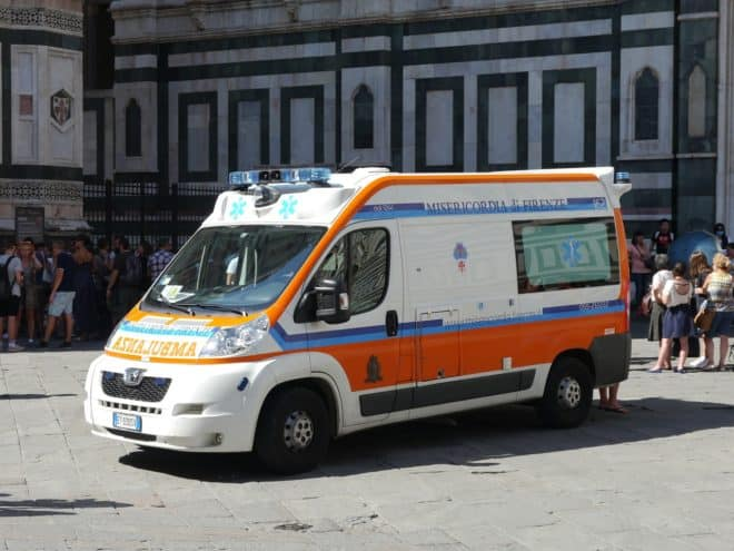 Ambulance italienne. Image d'illustration.