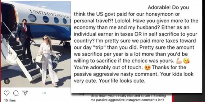 Capture d'écran du commentaire de Louise Linton
