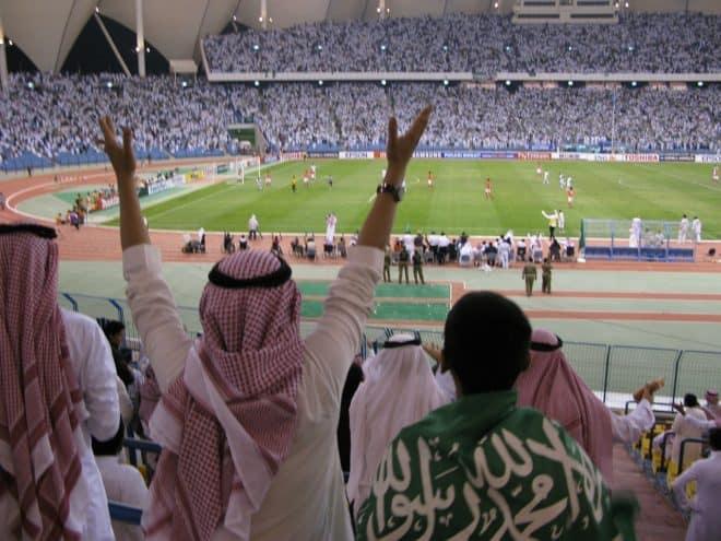 Un stade de football en Arabie saoudite. Image d'illustration.