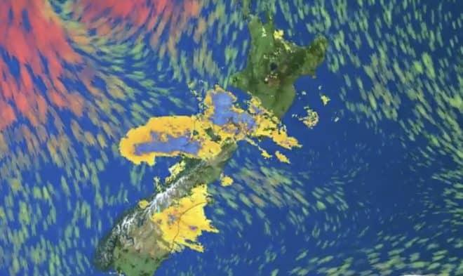 Restitution numérique du passage de Gita sur la Nouvelle-Zélande.