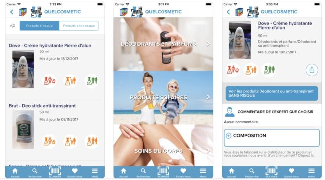Présentation iOS de l'application QuelCosmetic