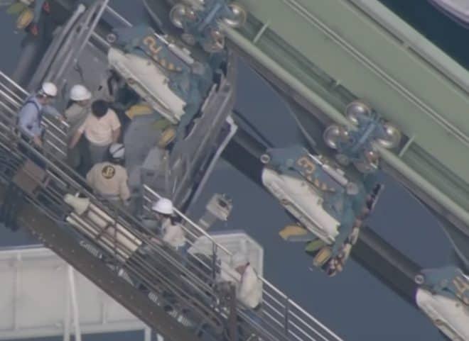 L'opération de sauvetage d'un manège au Japon le 1er mai 2018.