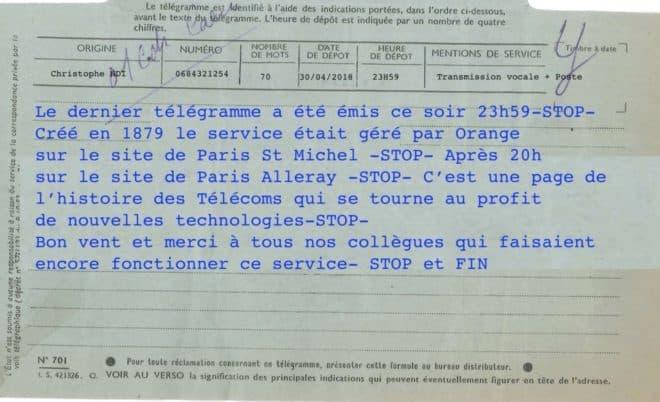 Annonce de l'envoi du dernier télégramme en France, le 30 avril 2018.
