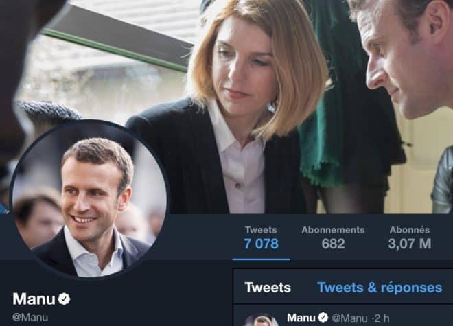 Aperçu du compte Twitter d'Emmanuel Macron après passage par l'extension.