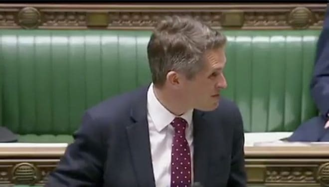 Gavin Williamson au parlement britannique le 3 juillet 2018