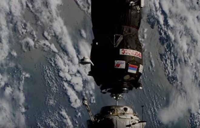 Amarrage du cargo russe de ravitaillement à l'ISS (10 juillet 2018)