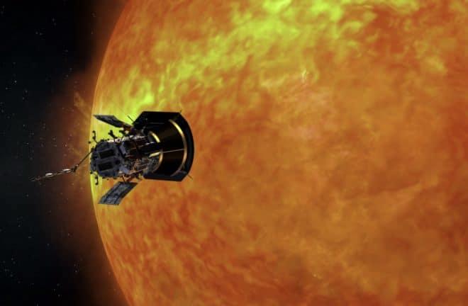 Parker Solar Probe en approche du Soleil, vue d'artiste.