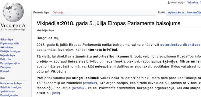 Page d'accueil de la version lettonne de Wikipedia