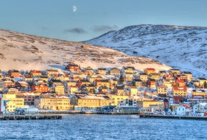 La petite ville d'Honningsvåg, en Norvège