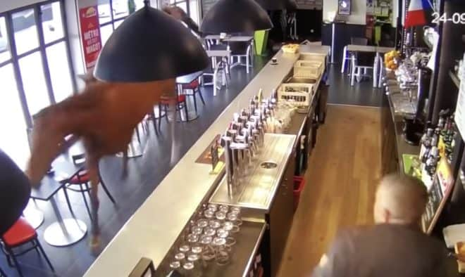 Image de la vidéosurveillance d'un bar PMU de Chantilly