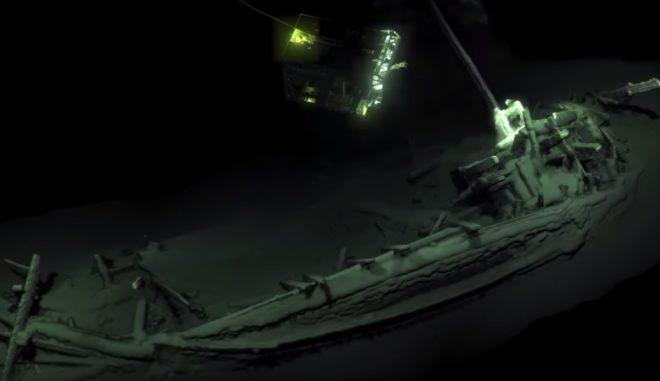 L'épave retrouvée au fond de la mer Noire en 2018.