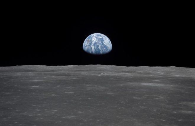 La Terre vue de la Lune lors de la mission Apollo 11.