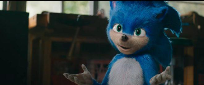 Sonic tel qu'il apparait dans la bande-annonce du film Sonic The Hedgehog.