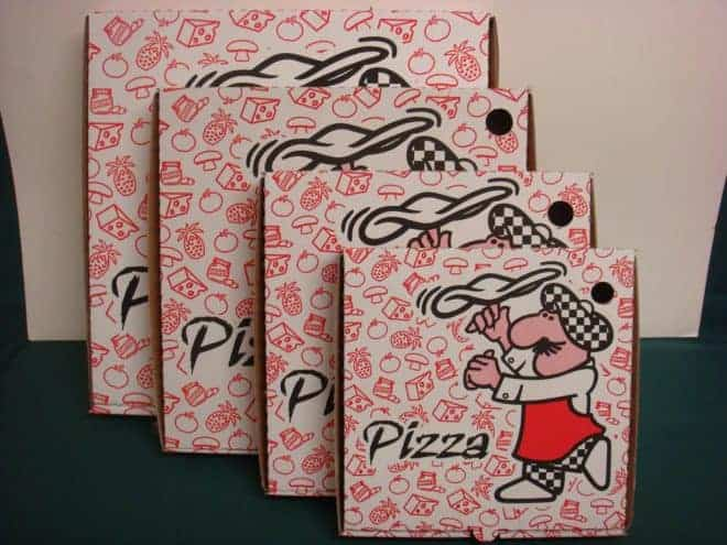 Illustration. Des boites à pizza.