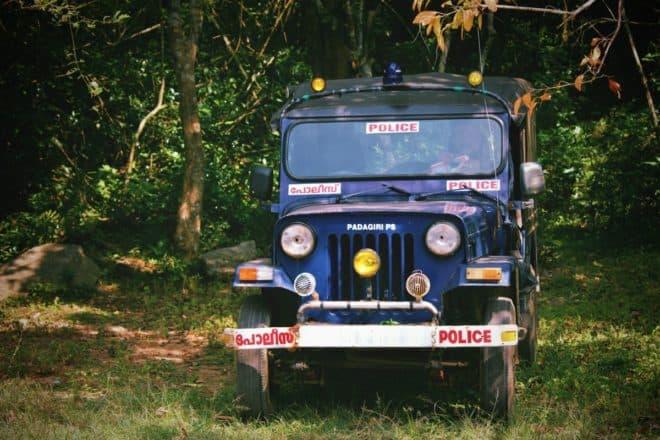 Un véhicule de police en Inde. Image d'illustration.