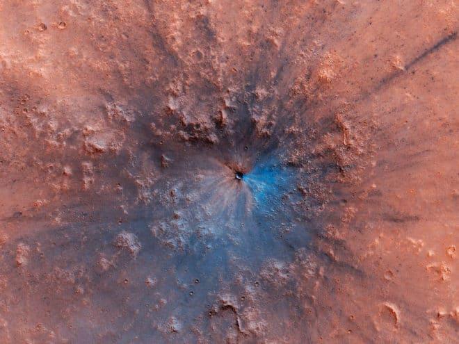 Le cratère d'impact repéré sur Mars en avril 2019.