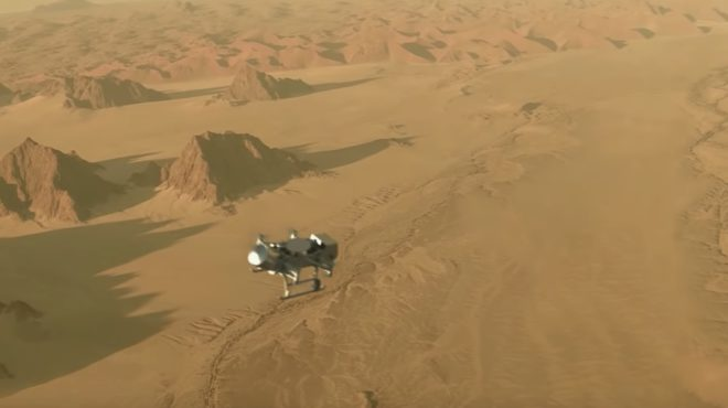 Illustration du survol de Titan par un drone en 2034.