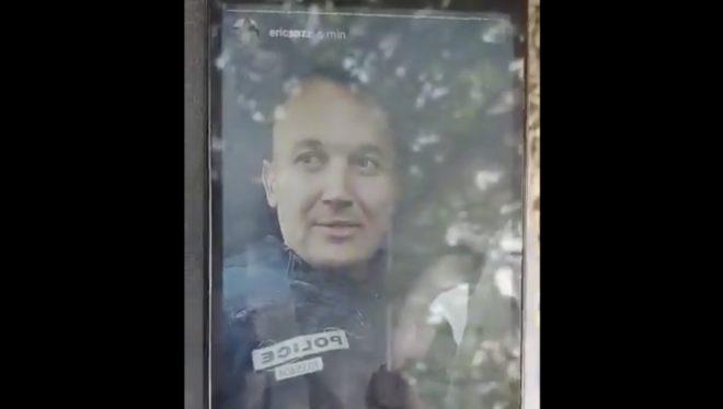 Le policier en selfie pour sa story Instagram