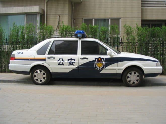 Une voiture de police en Chine. Image d'illustration.