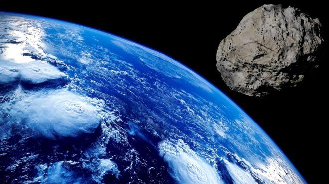Vue d'artiste. Un astéroïde avant impact avec la Terre.