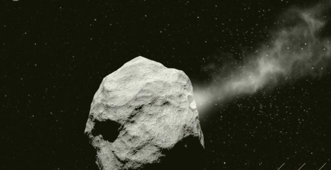 Simulation de la déviation d'un astéroïde.