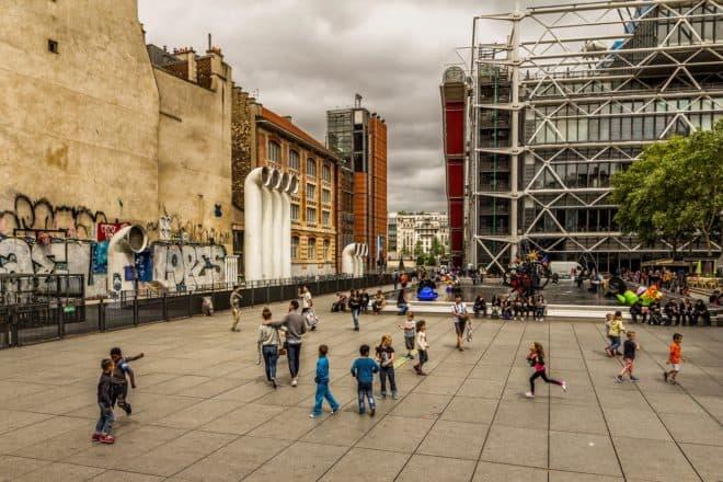 Le Centre Pompidou, à paris. Illustration.