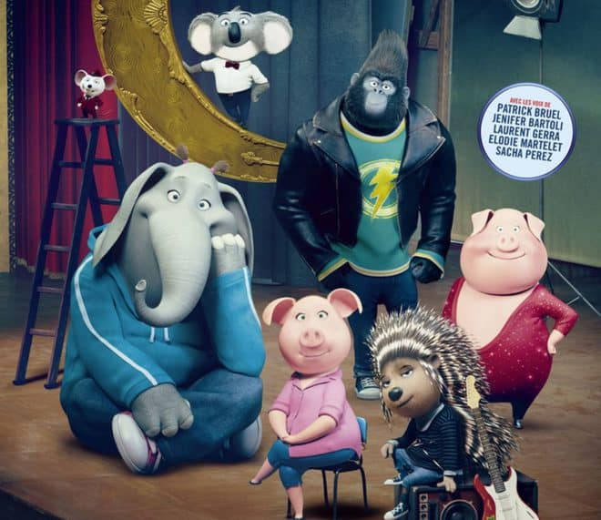 """Affiche du film d'animation 3D """"Tous en scène""""."""