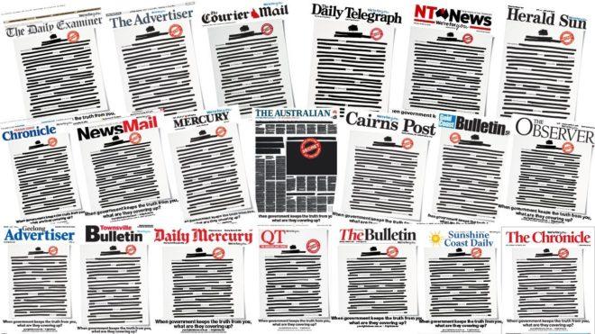 Les Unes des journaux australiens noircies.