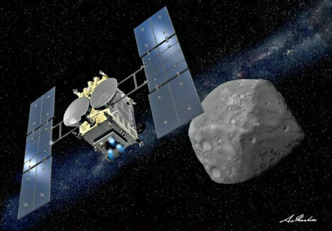 Vue d'artiste de la sonde Hayabusa 2 et de l'astéroïde Ryugu.