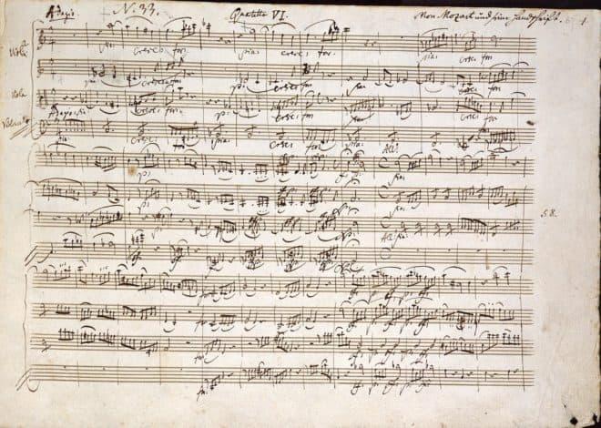 Illustration. Une partition de Mozart.