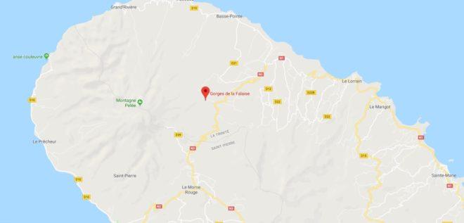 Le site des Gorges de la Falaise, nord de la Martinique.