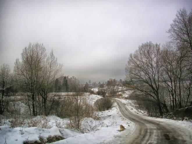 Illustration. Une route gelée en Russie.